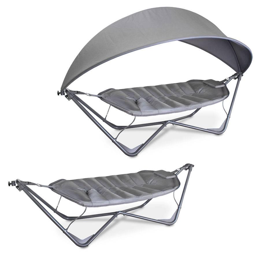 h ngemattenliege h ngematte schaukelliege gartenliege liege dunkel stahlgestell ebay. Black Bedroom Furniture Sets. Home Design Ideas