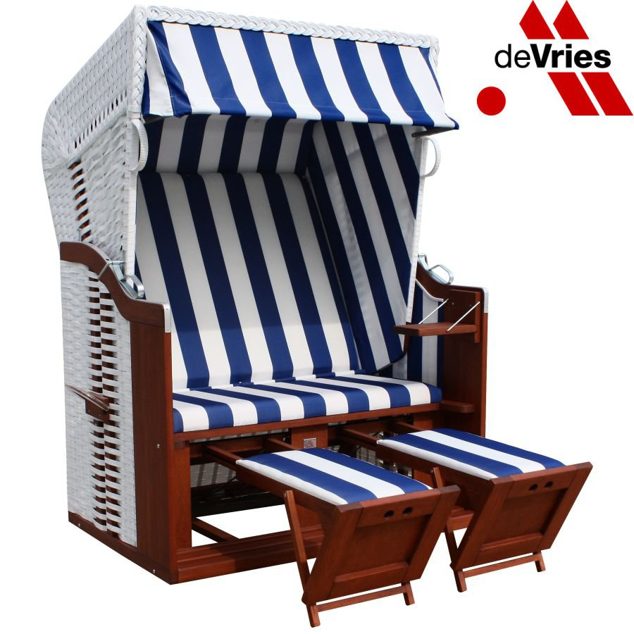 original devries profi ostsee strandkorb fehmarn 991 hotel ferienhaus blau weiss. Black Bedroom Furniture Sets. Home Design Ideas