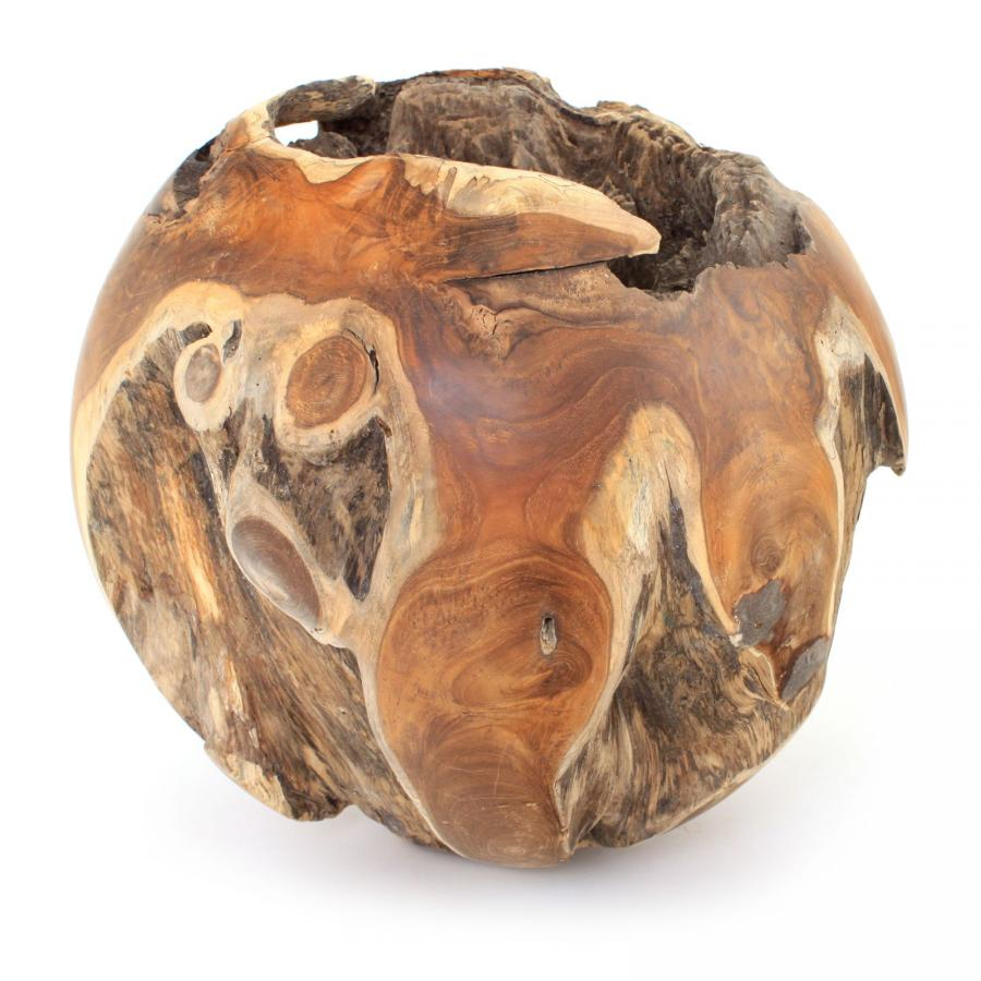 DEKO-KUGEL AUS TEAKHOLZ CA 30 CM NATURAL TEAK WOODEN BALL GARDEN DECORATION