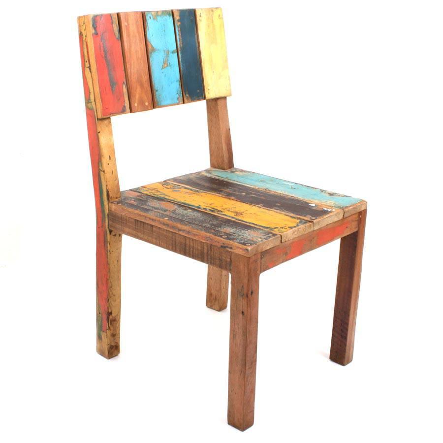 gartenstuhl individuell bunt recycelt teakholz alter indonesischer fishboat holz ebay. Black Bedroom Furniture Sets. Home Design Ideas