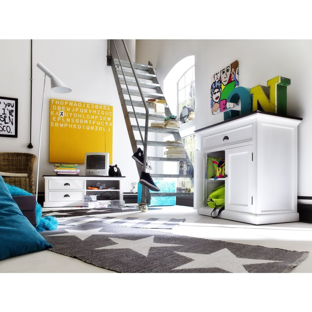 sideboard anrichte kommode weiss mit platte in schwarz 90. Black Bedroom Furniture Sets. Home Design Ideas