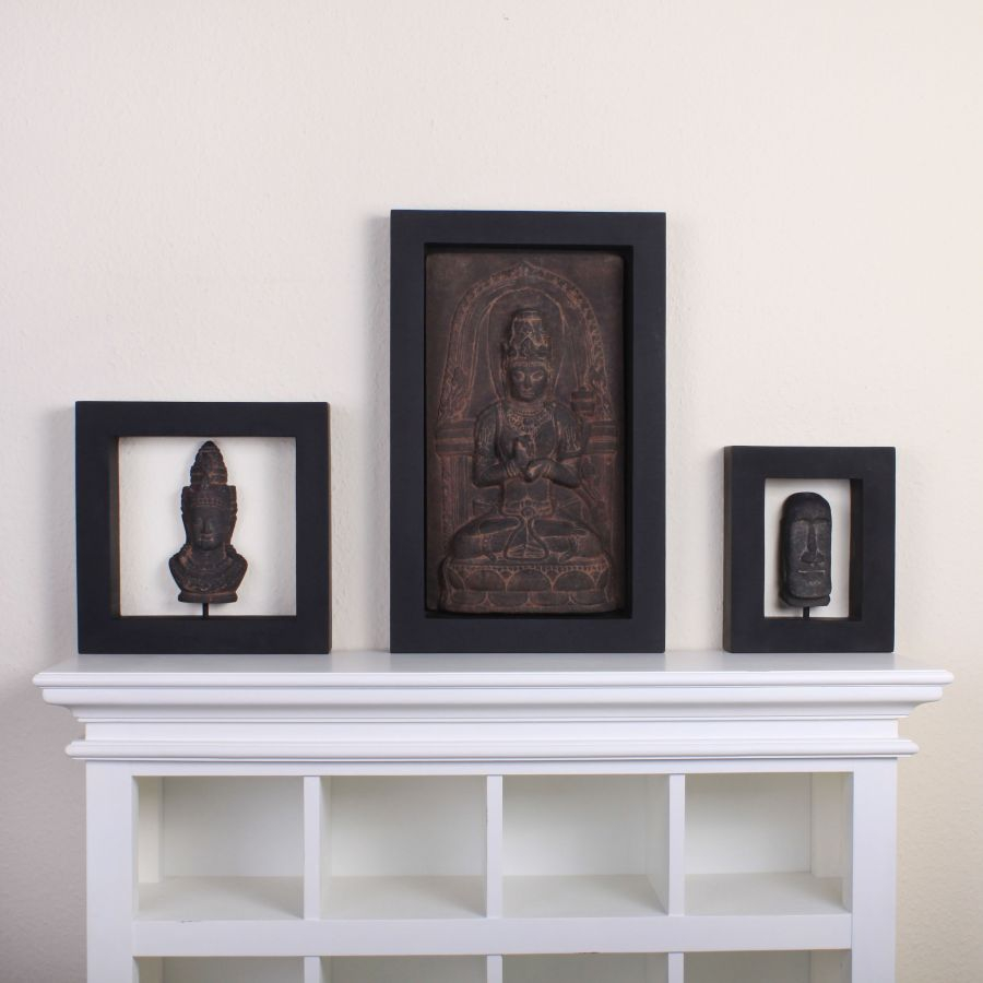 steinbild wandbild dekobild besandet buddha asia style ken dedes k nigin stein. Black Bedroom Furniture Sets. Home Design Ideas