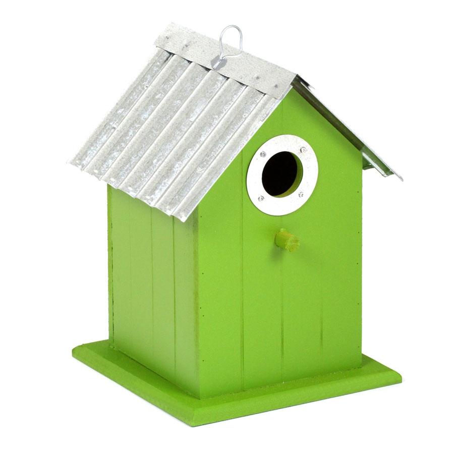 vogelhaus aus holz mit metalldach aufh ngen oder. Black Bedroom Furniture Sets. Home Design Ideas
