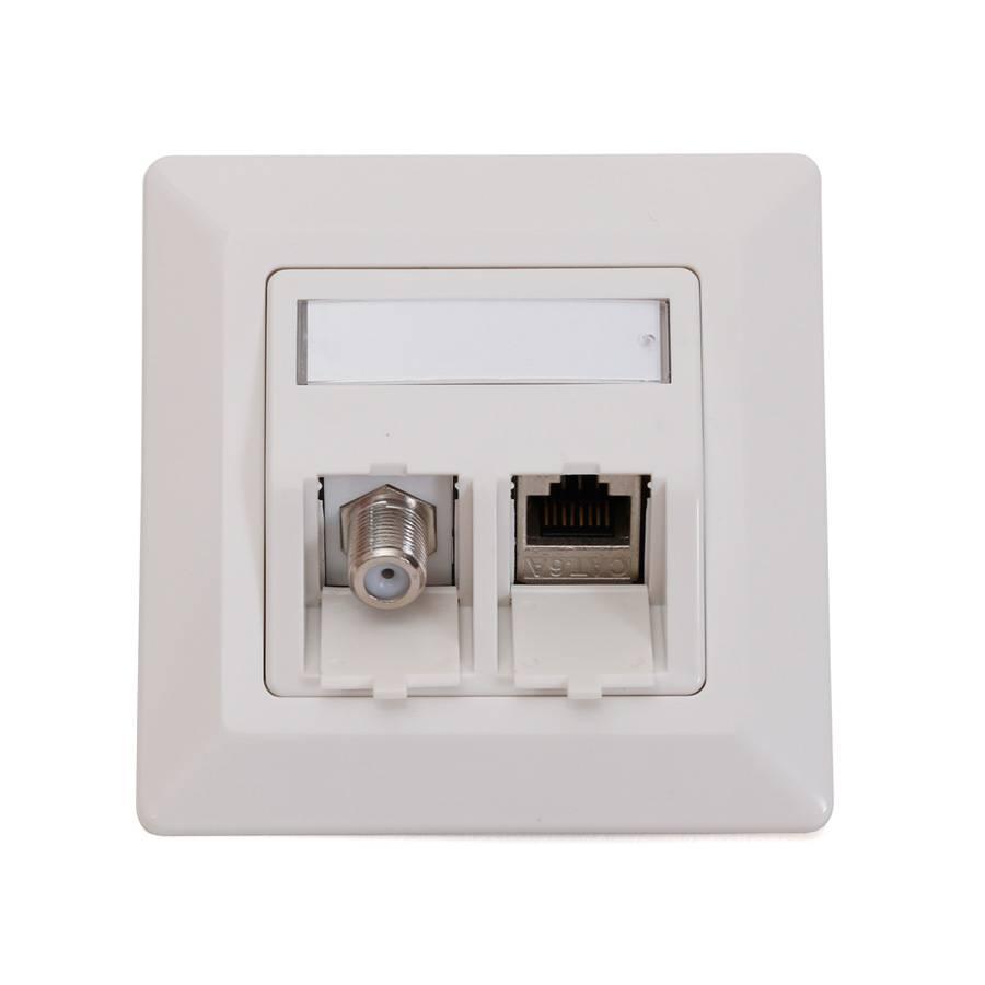 keystone netzwerk dose mit cat6a rj45 lan modul antenne sat f buchse modul reinw ebay. Black Bedroom Furniture Sets. Home Design Ideas
