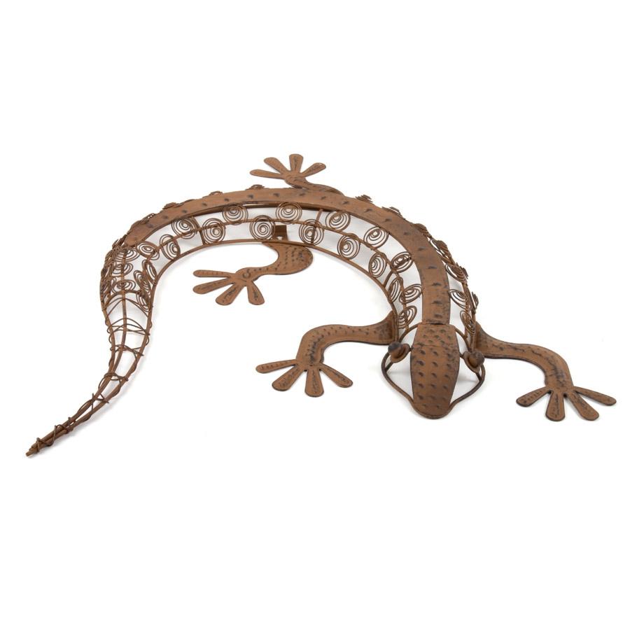Metall deko figur gecko 57cm f r haus und garten for Deko rostoptik
