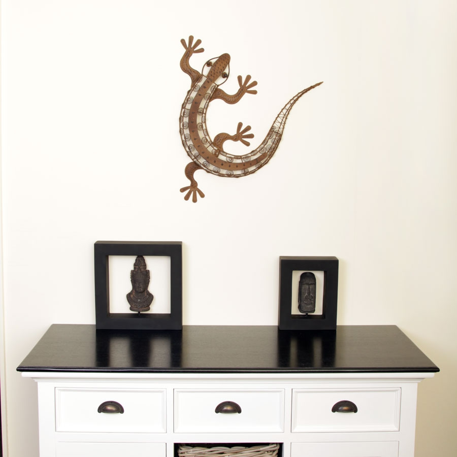 metall deko figur gecko 57cm f r haus und garten dekoration eidechse rostoptik ebay. Black Bedroom Furniture Sets. Home Design Ideas