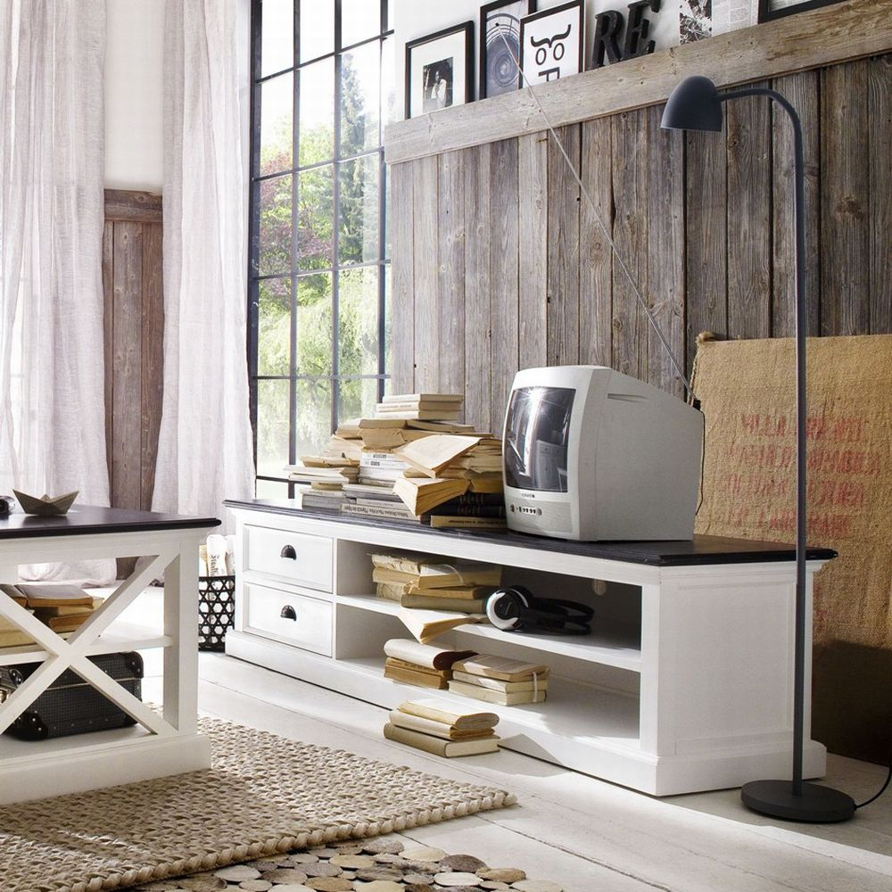tv schrank sideboard massiv shabby look novasolo weiss mahagoni 2 schubladen ebay