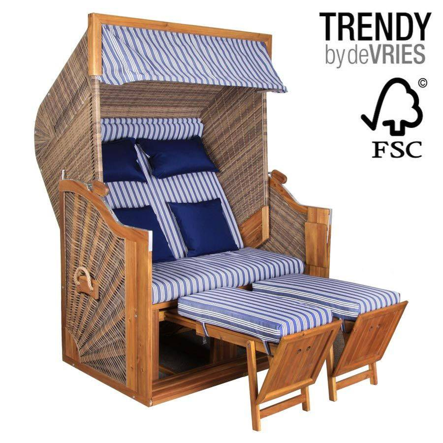 strandkorb devries trendy pure greenline 140 xl dessin 711 fsc blau weiss akazie ebay. Black Bedroom Furniture Sets. Home Design Ideas