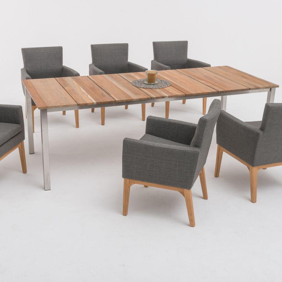 tl8801 teak edelstahl tisch oslo fest 196x95 cm. Black Bedroom Furniture Sets. Home Design Ideas