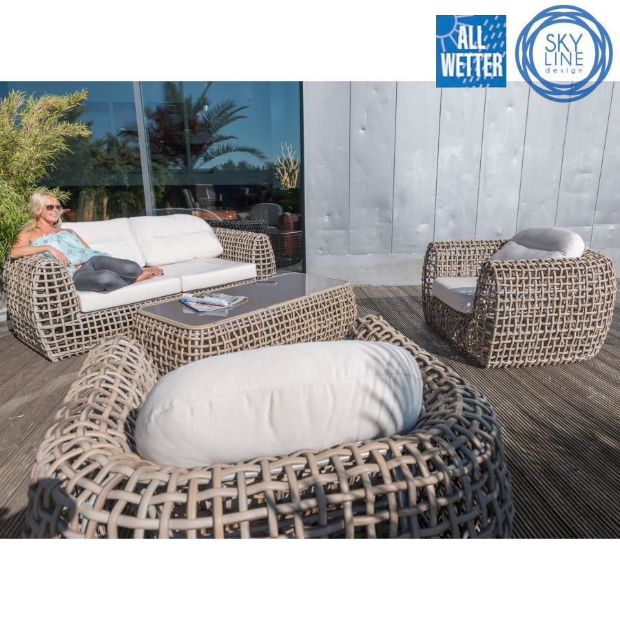 exclusive lounge liege wetterfest grosses geflecht outdoor liege gartenliege ebay. Black Bedroom Furniture Sets. Home Design Ideas