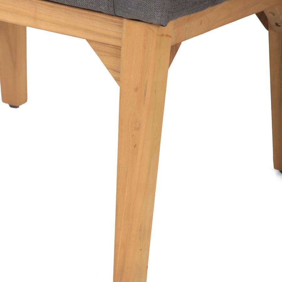 wetterfest nanotex teak holz stuhl mit lehne f r garten terrasse grau ebay. Black Bedroom Furniture Sets. Home Design Ideas