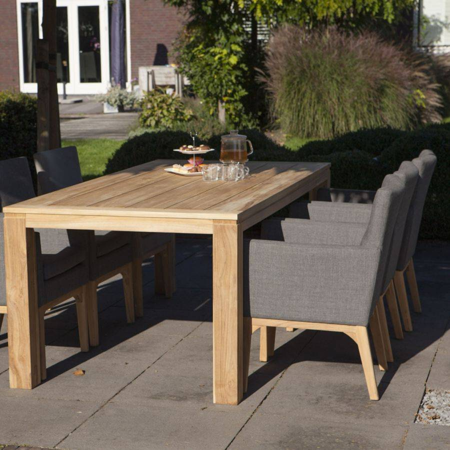wetterfest nanotex teak holz stuhl mit lehne f r garten terrasse grau ebay. Black Bedroom Furniture Sets. Home Design Ideas