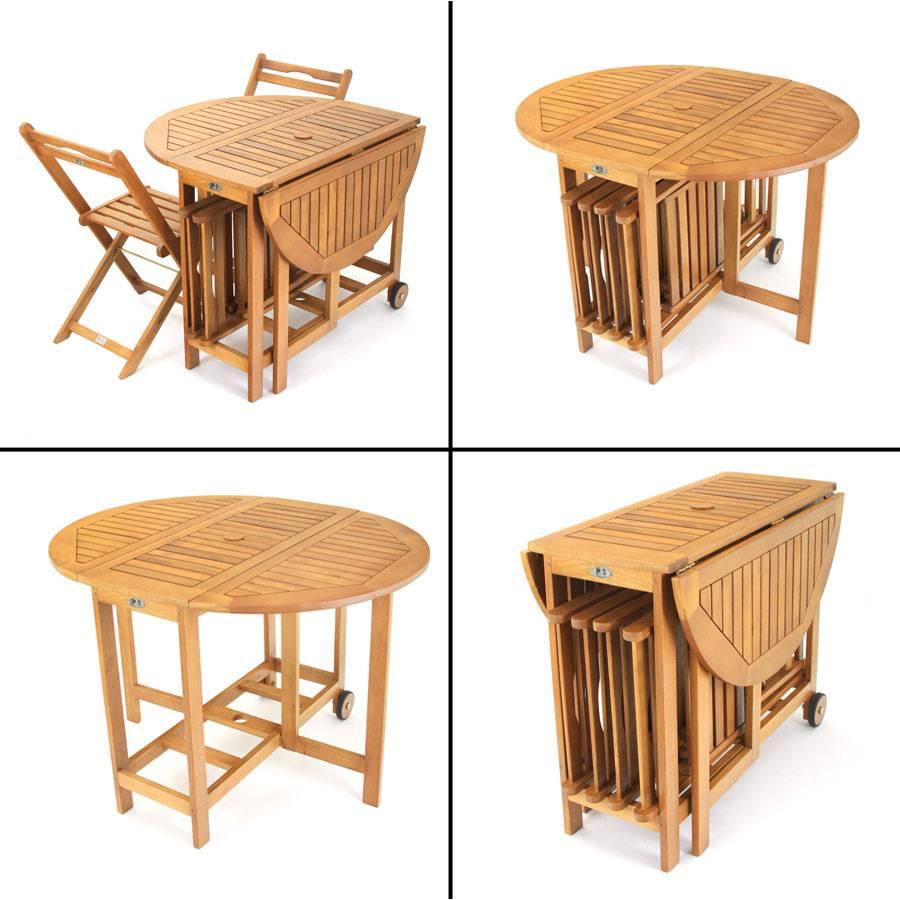 balkonset 5 teilig klapptisch mit 4 st hlen mehrfach klappbar akazienholz fsc ebay. Black Bedroom Furniture Sets. Home Design Ideas