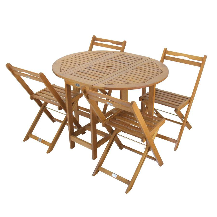 bistro set balkontisch mit r dern klappst hle f r 4 personen praktisch holz ebay. Black Bedroom Furniture Sets. Home Design Ideas