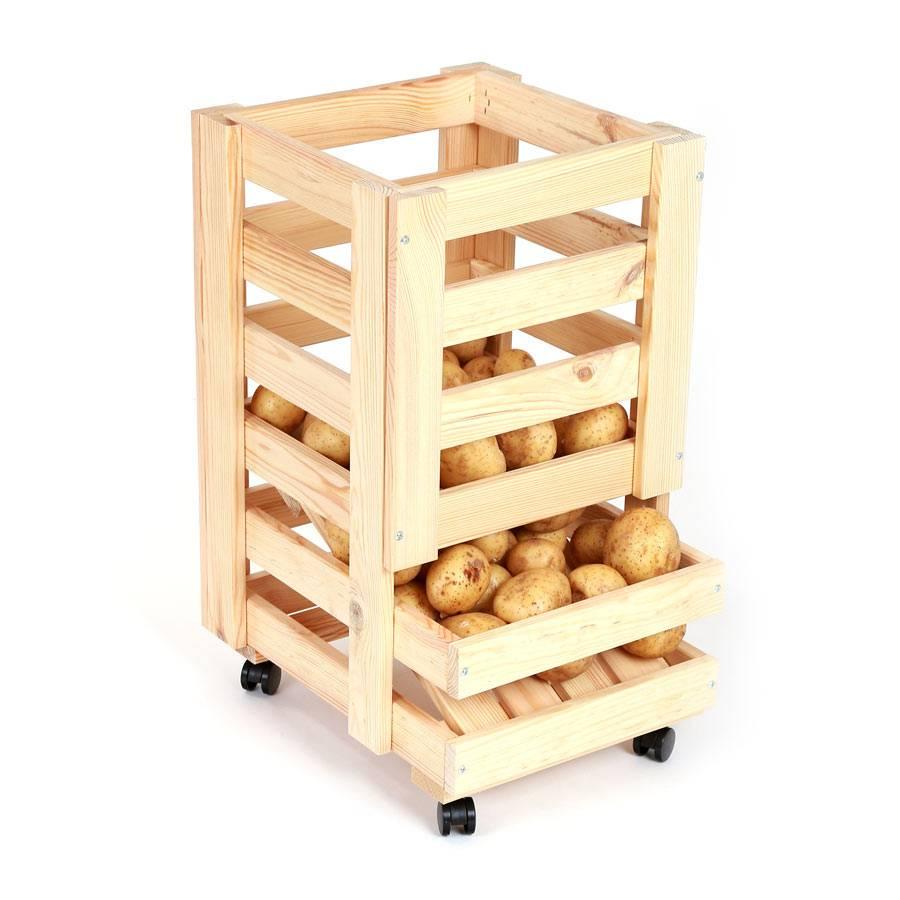Vorratsregal Holz obsthorde regal aus holz mit rollen kartoffelregal vorratsregal