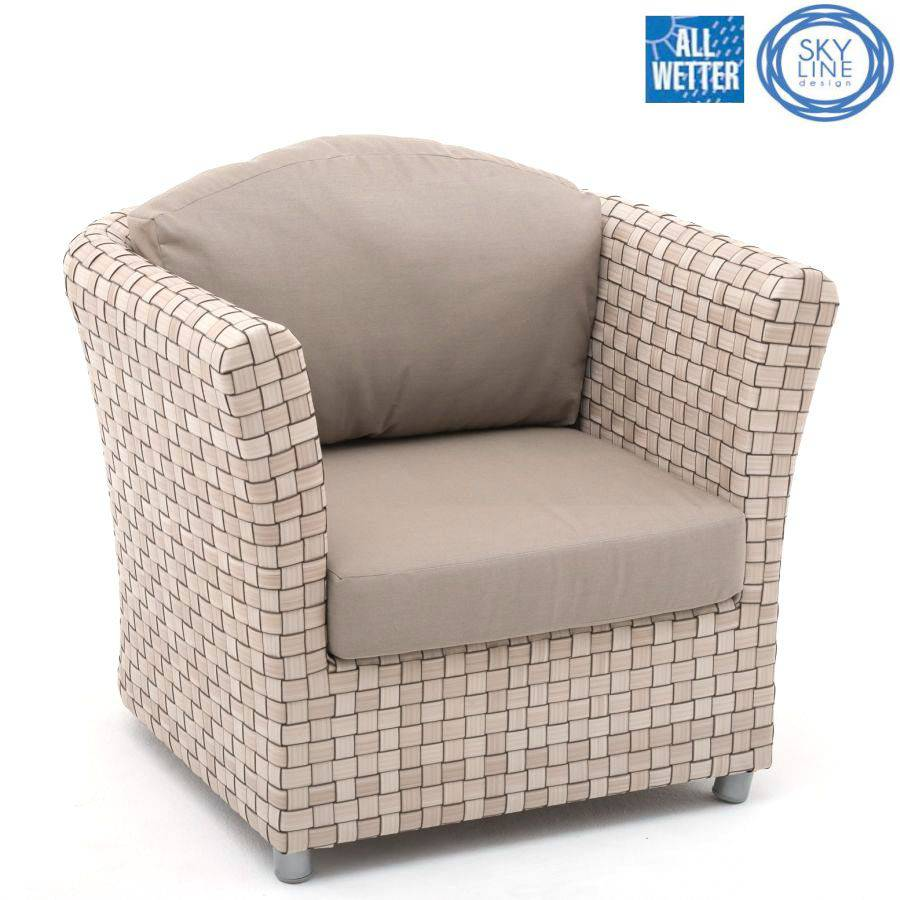 skyline design florence armchair sessel outdoor stuhl seashell bezug taupe 5461 ebay. Black Bedroom Furniture Sets. Home Design Ideas