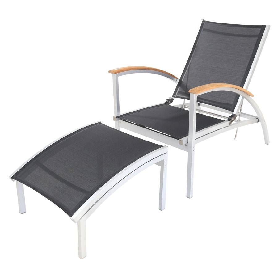 allwetter deckchair gartenstuhl liege triniti stufenlos verstellbar alu teak fsc ebay. Black Bedroom Furniture Sets. Home Design Ideas