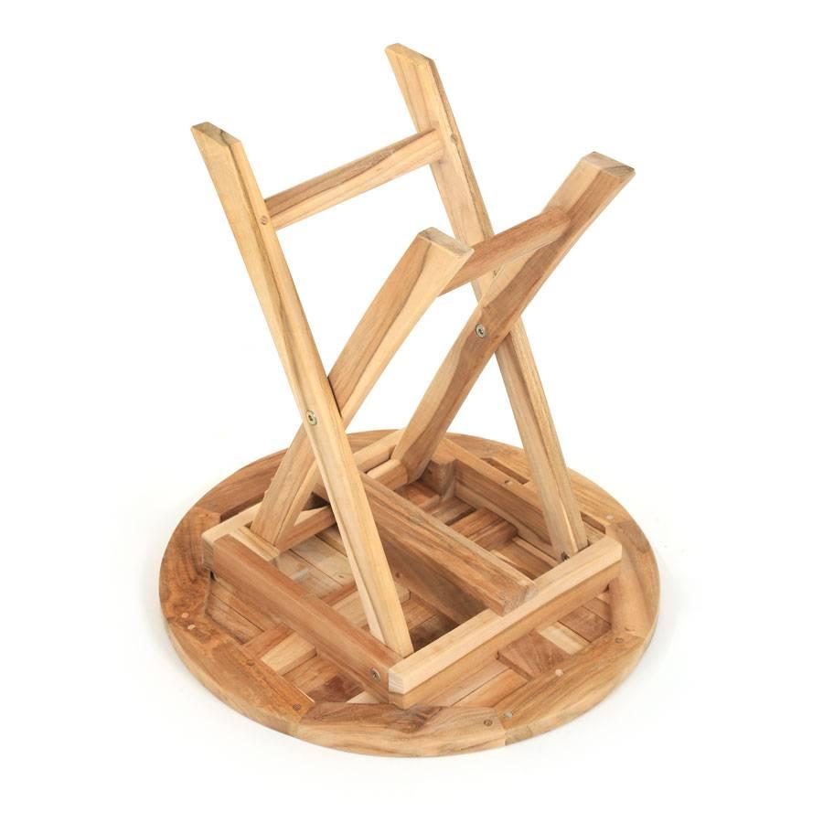ploss eco teak beistelltisch tennessee rund 50cm gartentisch klapptisch tisch ebay. Black Bedroom Furniture Sets. Home Design Ideas