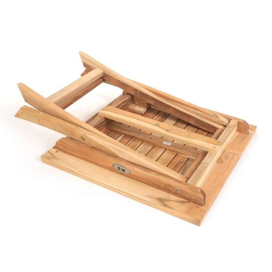 Eco teak tisch eckig plantagenteak beistelltisch klappbar for Beistelltisch eckig
