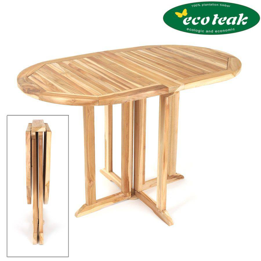 beidseitig klappbar eco teak gartentisch oval massiv holztisch terrasse tisch ebay. Black Bedroom Furniture Sets. Home Design Ideas