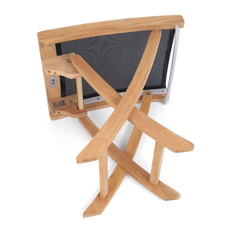 ploss teak textilene fu hocker fairchild schwarz klappbar. Black Bedroom Furniture Sets. Home Design Ideas