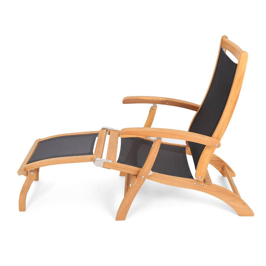 liegestuhl deckchair teak gewebe schwarz wetterbest ndig klappbar ploss holz ebay. Black Bedroom Furniture Sets. Home Design Ideas