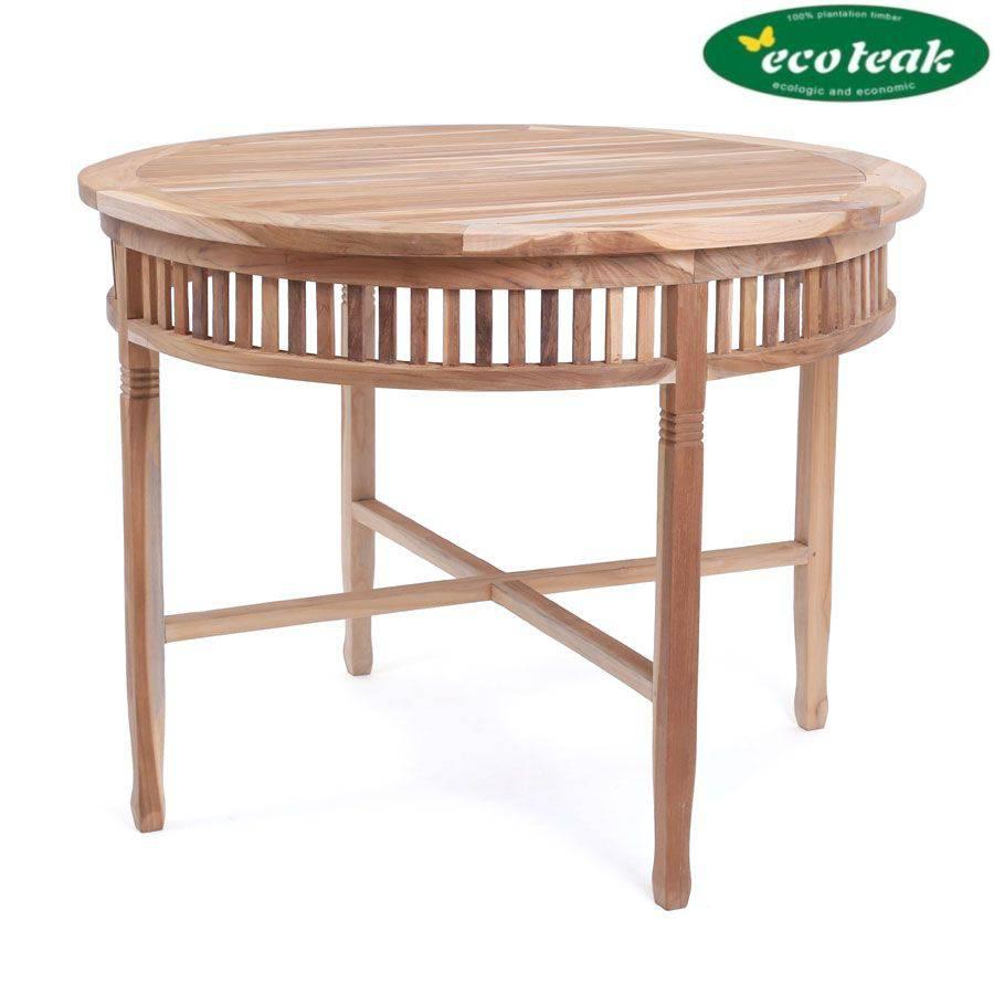ploss eco teak tisch new orleans rund 100 cm teak designm bel und. Black Bedroom Furniture Sets. Home Design Ideas
