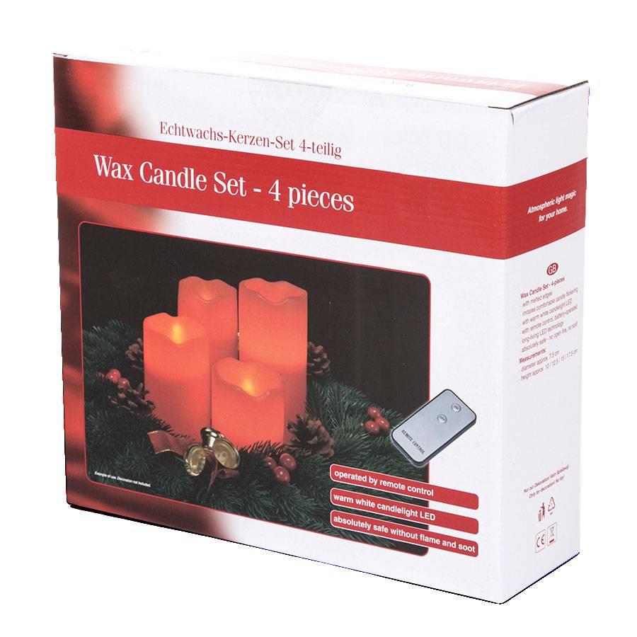 4 er set led kerzen echtwachs mit fernbedienung rot weihnachtskerzen advent ebay. Black Bedroom Furniture Sets. Home Design Ideas