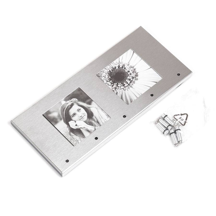 schl sselhalter mit bilderrahmen 5 haken schl sselbrett 2 foto rahmen edelstahl ebay. Black Bedroom Furniture Sets. Home Design Ideas