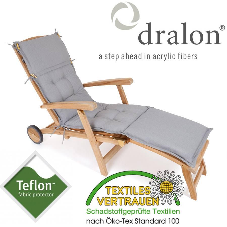 premium auflage deckchair gartenliege 180 x 44 hell grau gartenauflage polster ebay. Black Bedroom Furniture Sets. Home Design Ideas
