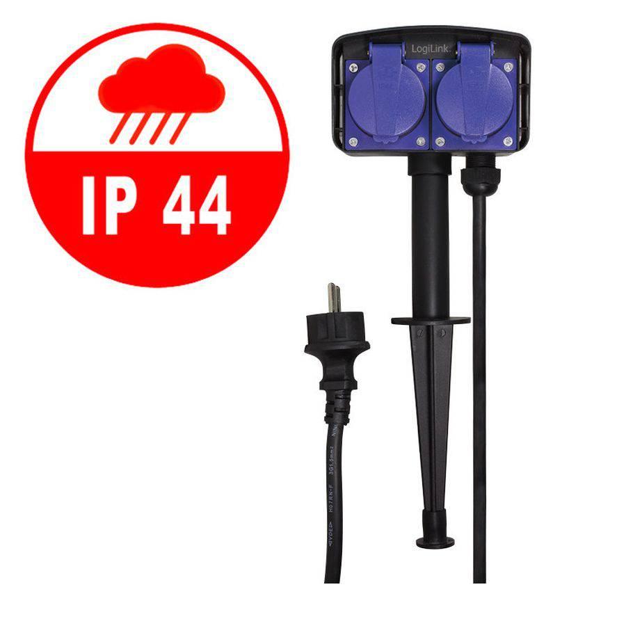 Logilink Outdoor Stromverteiler Erdspiess Mit 2 Steckdosen Ip44