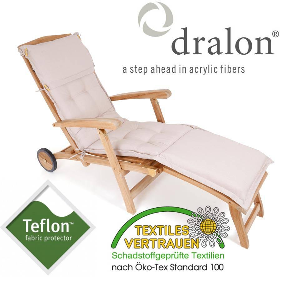 hochwertige dralon teflon auflage stuhlkissen deckcahir garten sand hell natur ebay. Black Bedroom Furniture Sets. Home Design Ideas
