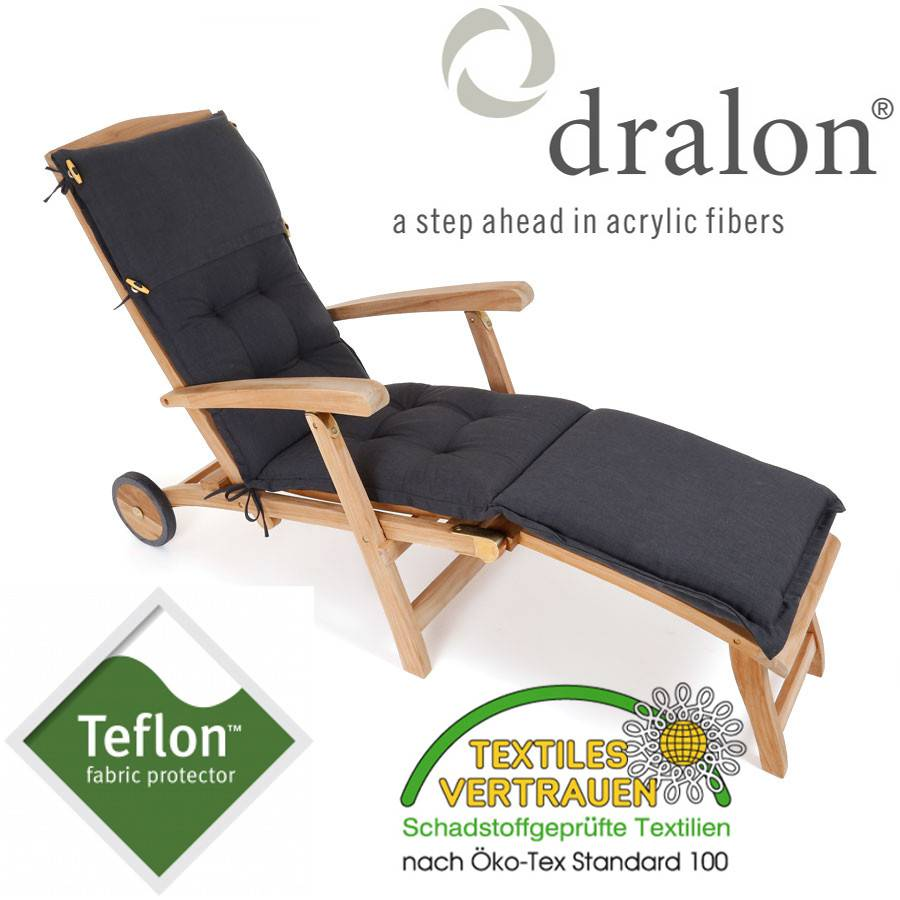 dralon teflon premium auflage f r deckchair 180 x 44 cm anthrazit dunkelgrau ebay. Black Bedroom Furniture Sets. Home Design Ideas