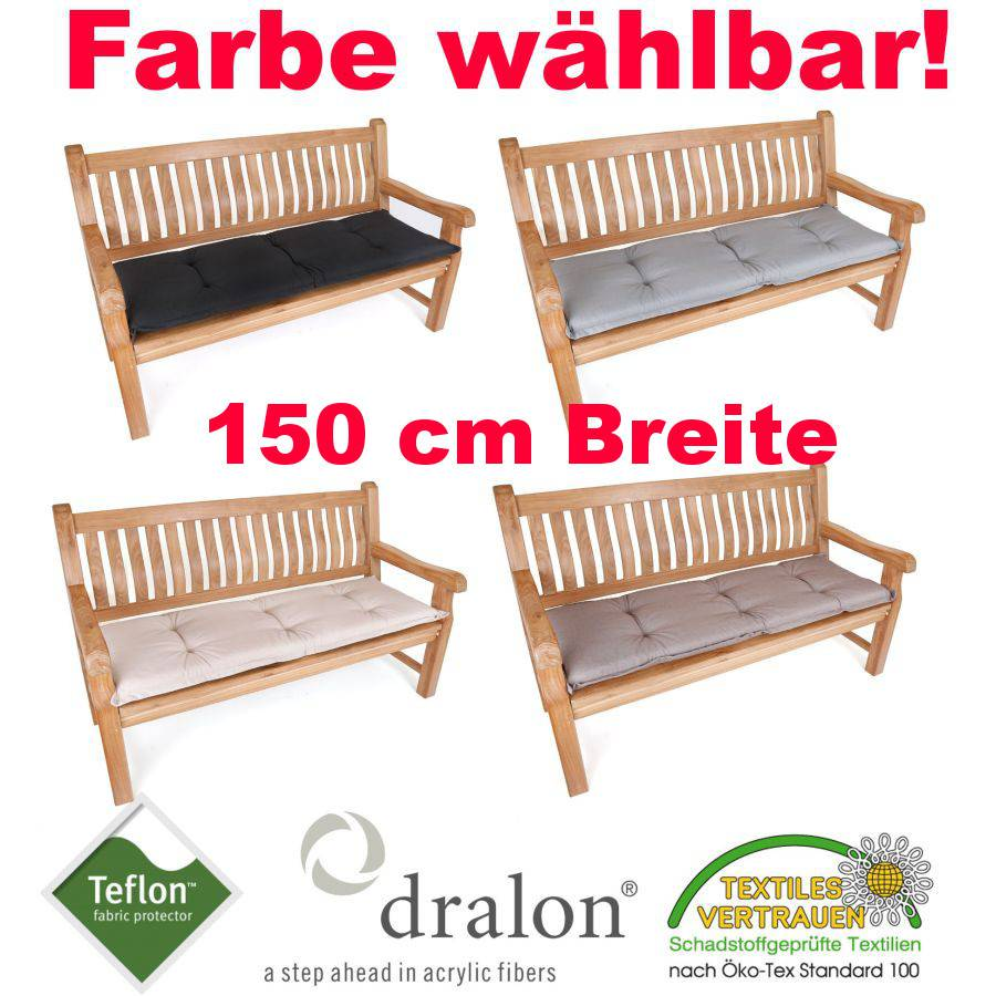 dralon teflon premium auflage f r bank 150 x 50 cm gartenbank kissen polster ebay. Black Bedroom Furniture Sets. Home Design Ideas