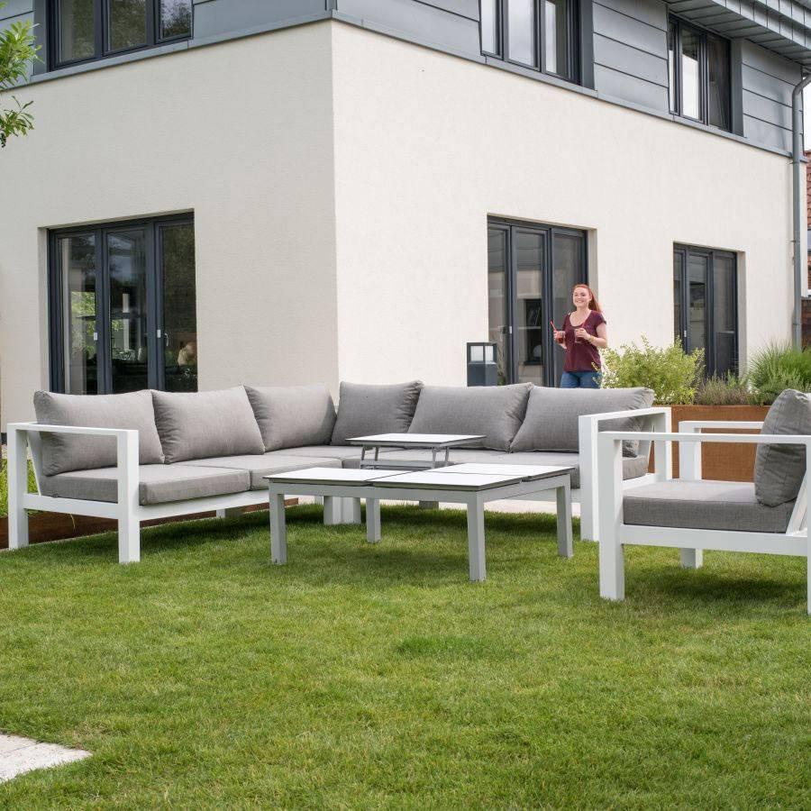 Lounge tisch design alu hpl platten hochklappbar wei for Lounge garnitur terrasse