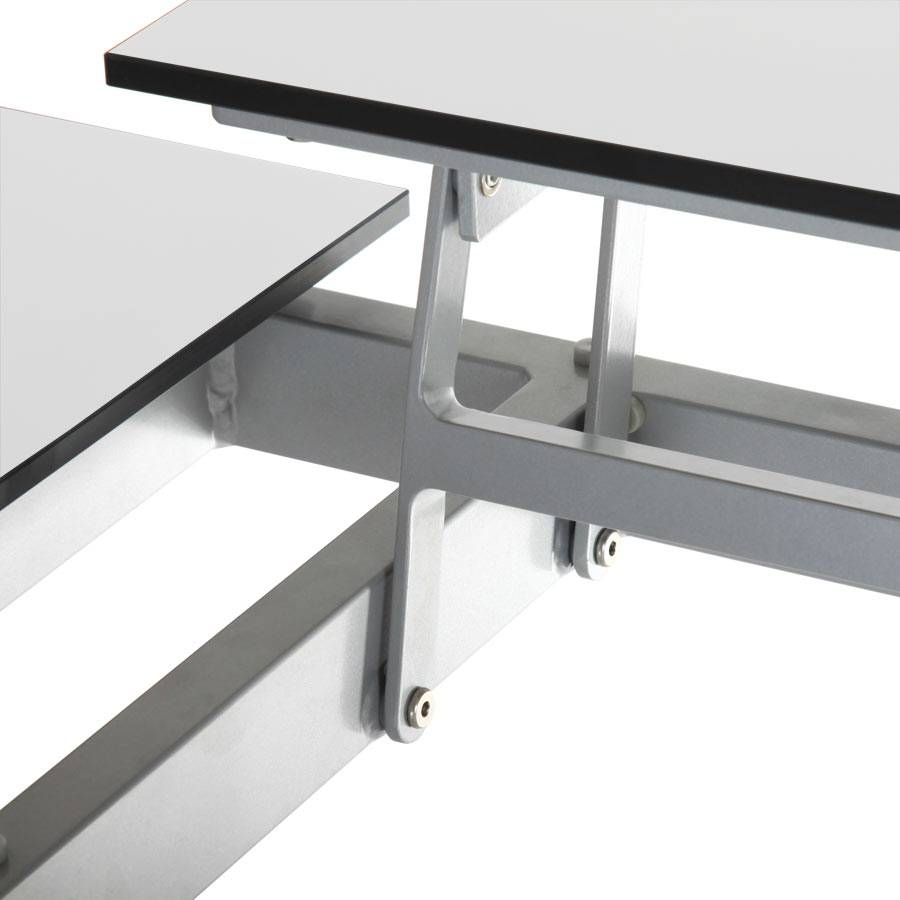 Lounge tisch design alu hpl platten hochklappbar wei for Design lounge tisch