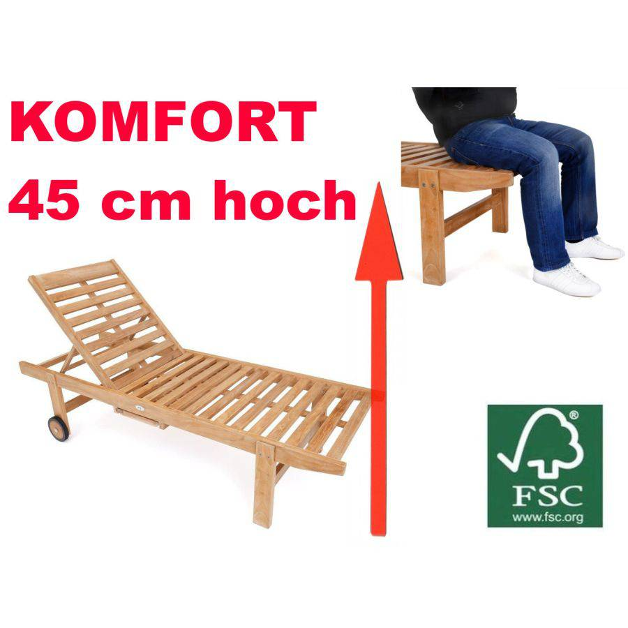 45 cm h he teak liege terrassenliege gartenliege fsc verstellbar hoch r der ebay. Black Bedroom Furniture Sets. Home Design Ideas