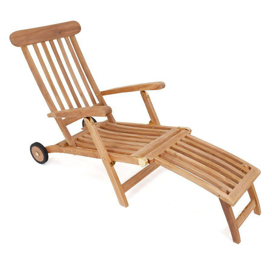 ploss teak liegestuhl deckchair pamir 2 r der svlk holz 100 ergonomisch ebay. Black Bedroom Furniture Sets. Home Design Ideas