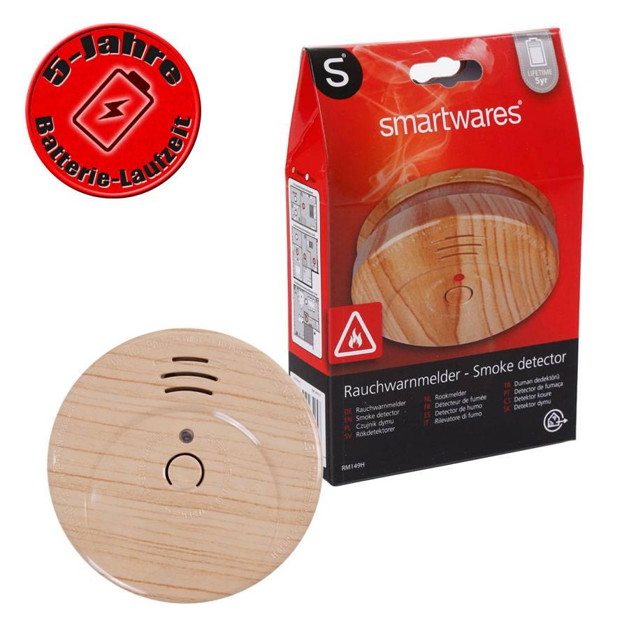 smartwares optischer rauchmelder in holzoptik rm149h 5y mit 5 jahres batterie ebay. Black Bedroom Furniture Sets. Home Design Ideas