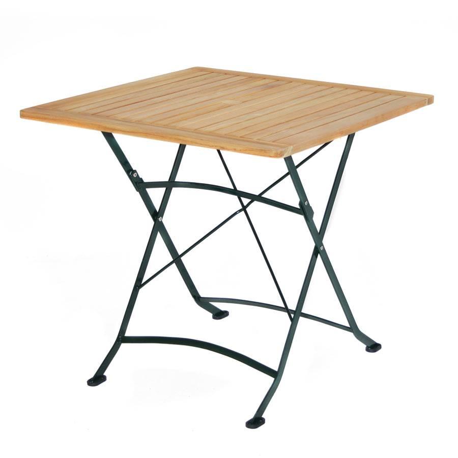biergarten tisch teak holz eisengestell verzinkt 80 x 80 cm klappbar schwer ebay. Black Bedroom Furniture Sets. Home Design Ideas