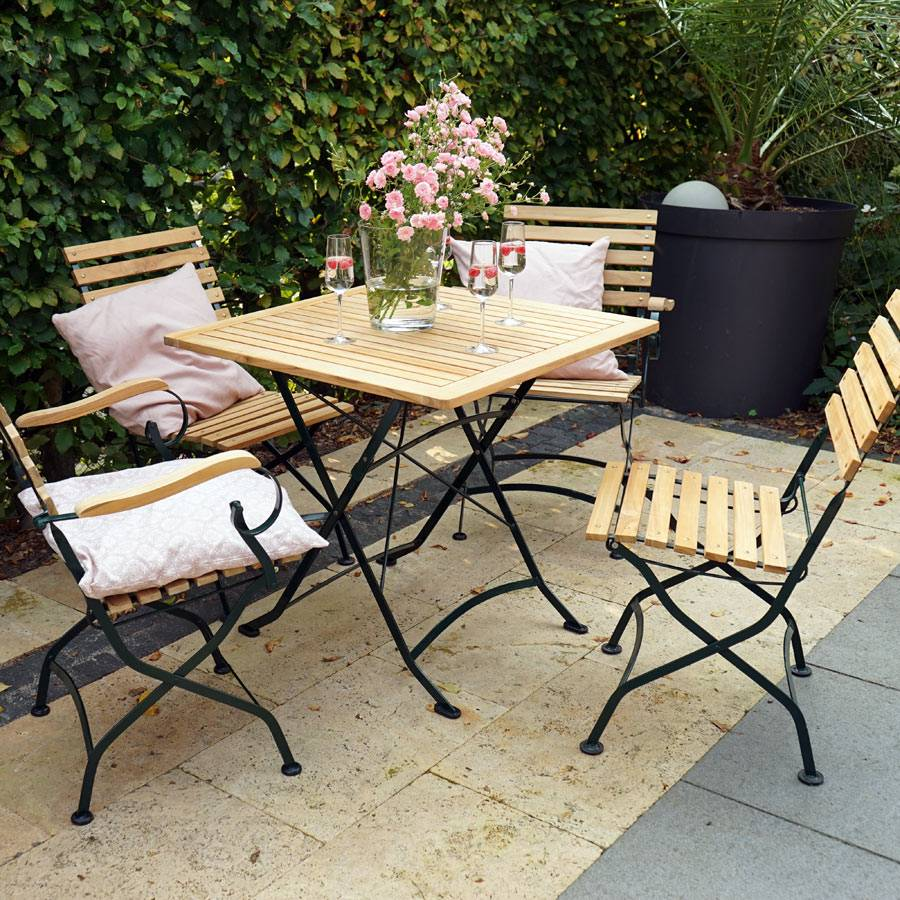 biergarten tisch teak holz eisengestell verzinkt 80 x 80 cm klappbar schwer ebay. Black Bedroom Furniture Sets. Home Design Ideas