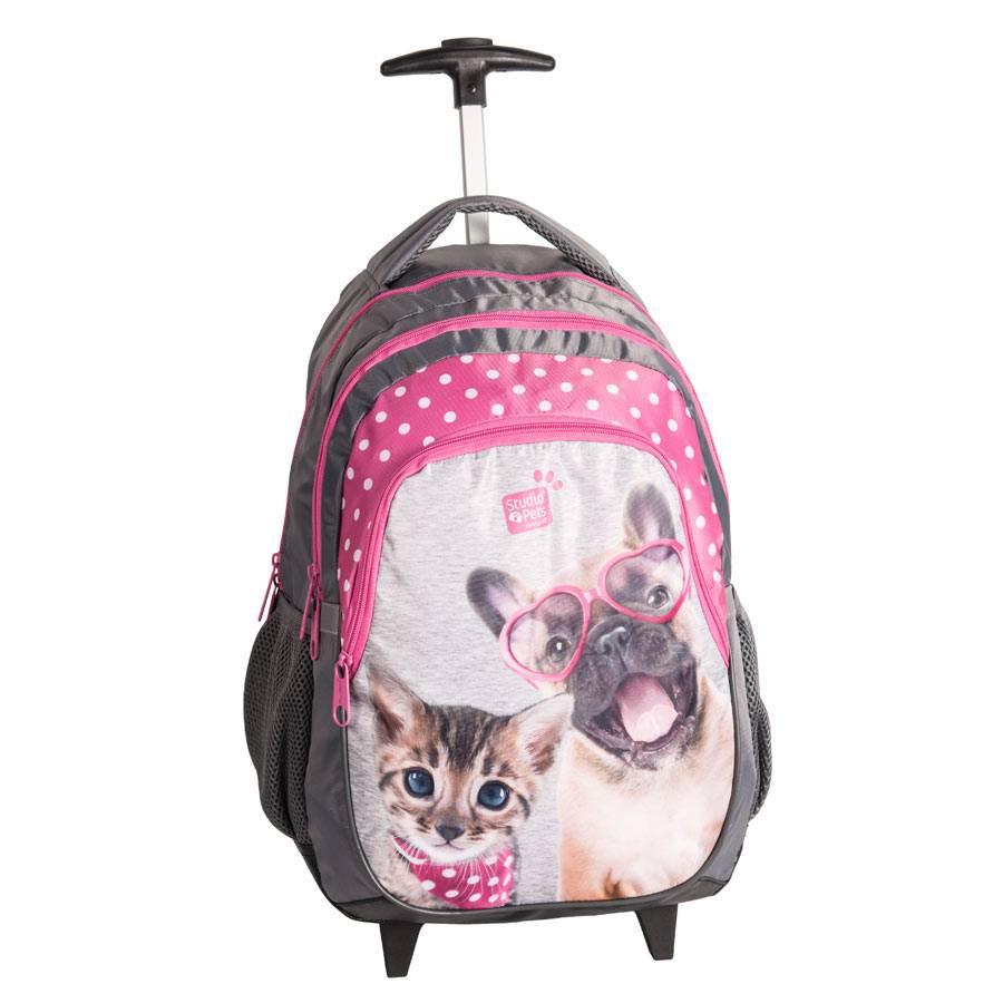 schultrolley ranzen handgep ck rollkoffer trolly kinder hund katze pink grau ebay. Black Bedroom Furniture Sets. Home Design Ideas