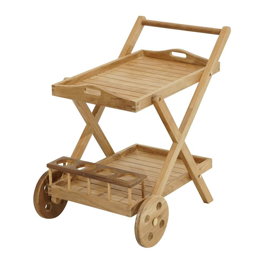 teak rollwagen servierwagen teewagen mit abnehmbarem tablett garten terrasse ebay. Black Bedroom Furniture Sets. Home Design Ideas