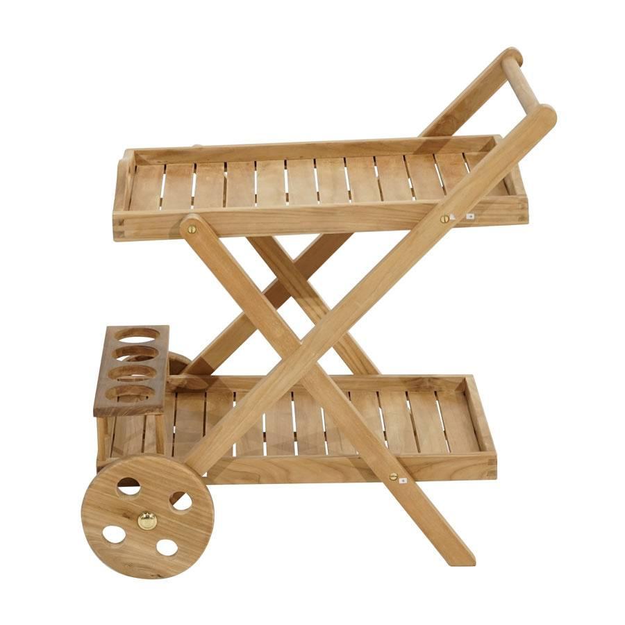 ploss new haven teak wagen rollbar servierwagen outdoor indoor teakholz tablett ebay. Black Bedroom Furniture Sets. Home Design Ideas