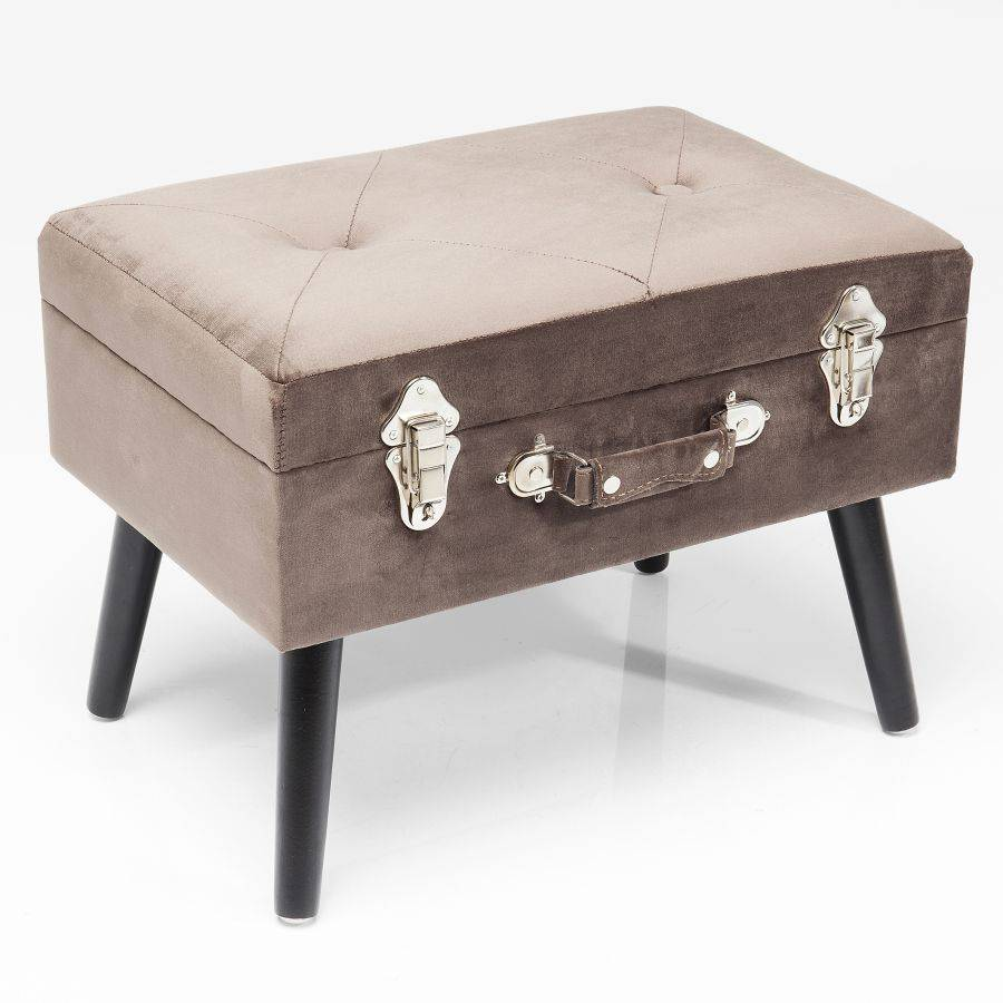 hocker suitcase samt grau kare design. Black Bedroom Furniture Sets. Home Design Ideas