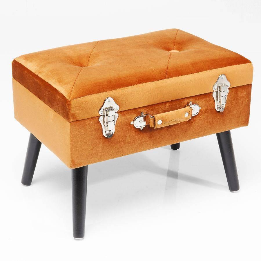 kare design koffer hocker originelles sitzm bel polster hocker orange samt ebay