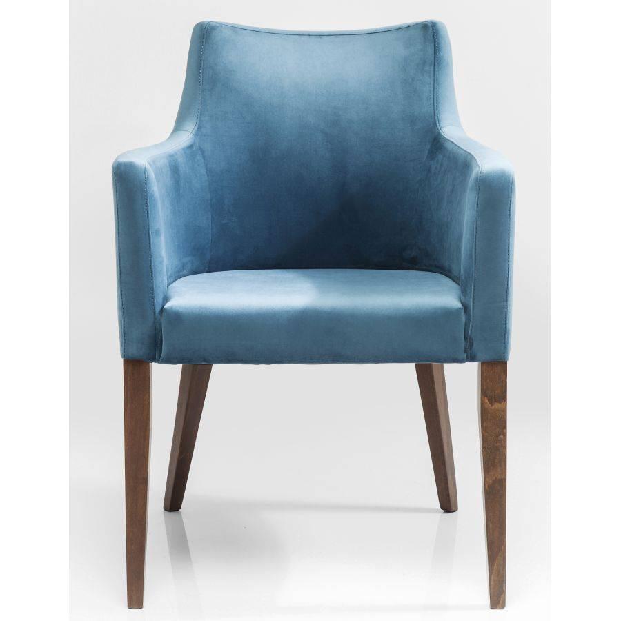 Kare design polsterstuhl armlehne petrol blau samt dining for Stuhl kare design