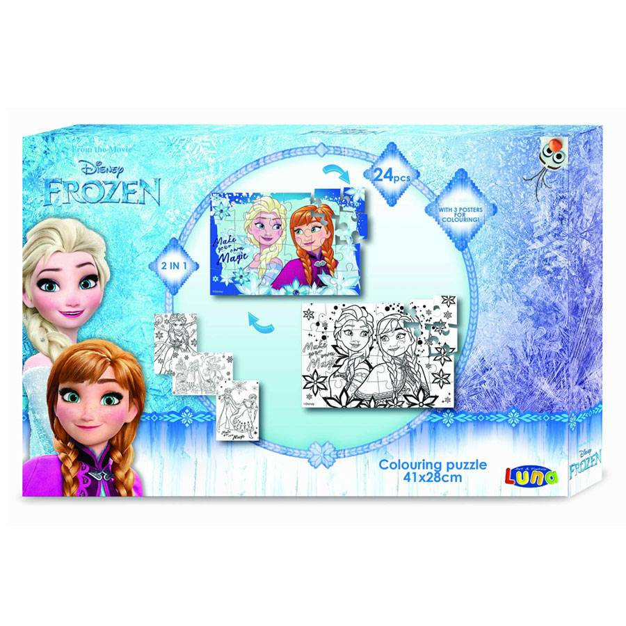 frozen die eisk nigin puzzle 2 seitig zum ausmalen 24 teile. Black Bedroom Furniture Sets. Home Design Ideas