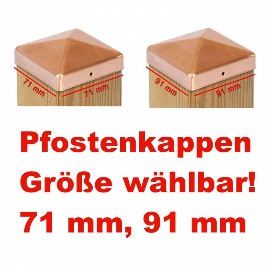 10er Set Pfostenkappen Zaunkappe Pyramide verzinkt 71 x 71 mm 10 St/ück