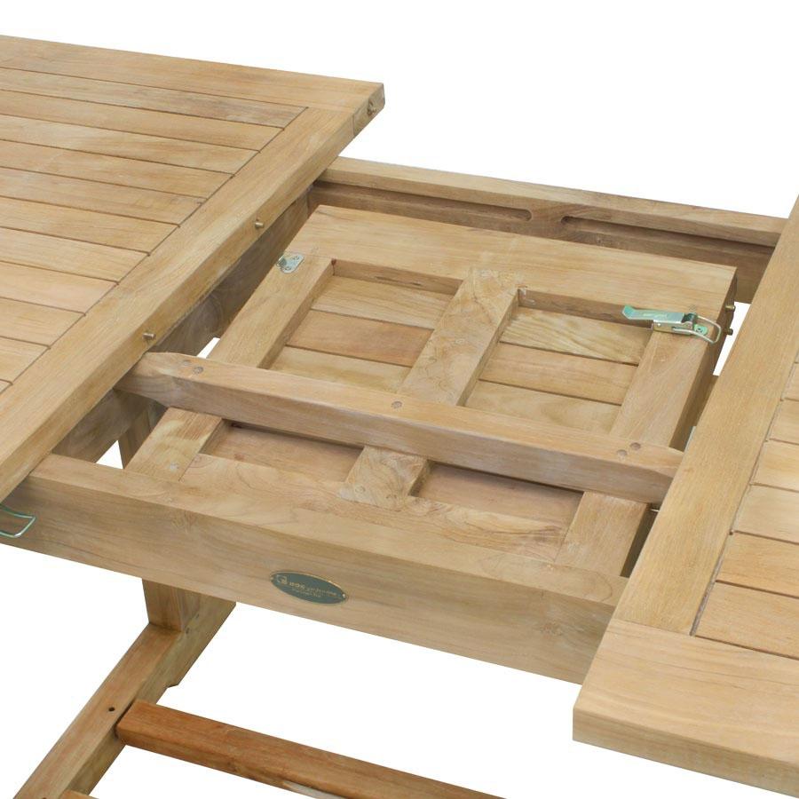 massiver teak tisch ausziehbar von 140 auf 180 cm holz ausziehtisch vivagardea ebay. Black Bedroom Furniture Sets. Home Design Ideas